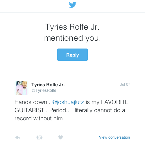 Tyries Favorite guitar player tweet